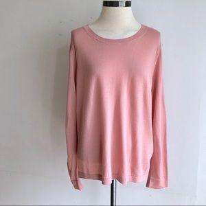 ANN TAYLOR Pink Wool Crewneck Sweater Lightweight